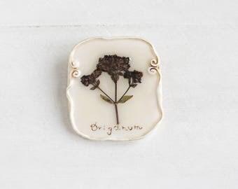 Oregano Brooch, Real Flower Brooch, Romantic Brooch, Rustic Jewelry, Gentle Brooch, Real Flower Jewelry, Vintage Brooch, Flower Brooch