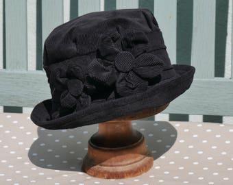 Black homegrown flower cloche hat