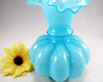 "Beautiful Vintage  Large  8""  Fenton 1940's Blue Overlay Melon Vase with  Ruffled Rim.   This pretty vase is RARE in this size!"