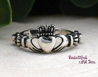 Celtic Claddagh Ring Silver, Silver Claddagh Ring, Simple Claddagh Ring, Irish Celtic Ring, Heart Claddagh Ring, Womens Claddagh Ring Silver