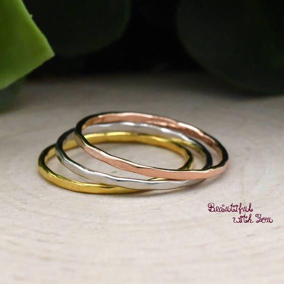 Tri Tone Color Rings Set Midi Rings Silver Russian Wedding