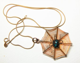 Antique Victorian 9Ct Gold SPIDER WEB - 375 Turquoise and Pearl SPIDER Necklace with 9Ct Snake Chain - Vintage 9K Gold Spider Web Pendant