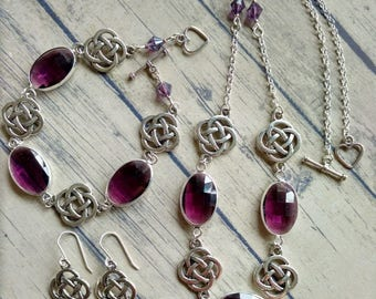 Celtic jewellery set with purple crystal, Celtic necklace, Celtic bracelet, Celtic earrings, Scottish gifts, celtic knot jewelry,