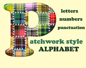 Patchwork digital alphabet clipart, colorful plaid font with large and small letters, numbers and punctuation marks; for commercial use