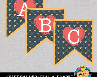 Heart Theme Banner. Full Alphabet. Printable File for birthdays, parties, and events. *INSTANT DOWNLOAD*