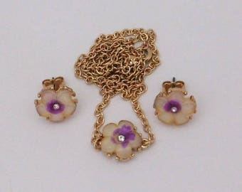 Flowers Stud Earrings Pendant Necklace