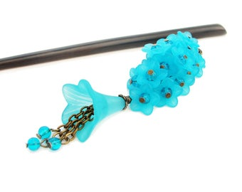 Hair stick in traditional japanese style with bouquet of frosted blue lucite flowers - kanzashi hair chopstick, hair pin - wooden or metal