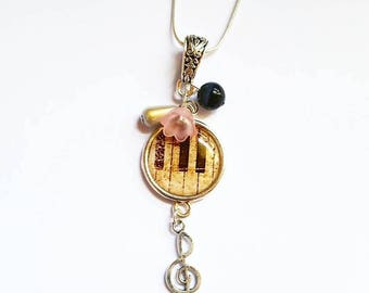 Music themed cabochon necklace