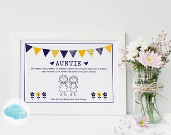 Personalised Stick Family Print - Auntie | Uncle | Best Friend | Grandparents | Stepfather | Sister
