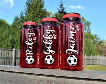 Soccer Water Bottle // 34oz Plastic Wide Mouth Bottle // Sport Water Bottle // Soccer Gift // Team Water Bottles  // Personalized Bottle