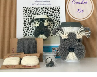 Amigurumi Kit, Crochet Pattern Dog, Crochet Kit, Schnauzer Pattern, Crochet Gifts, Crochet Dog Pattern, Dog Crochet Pattern, Crocheting Gift