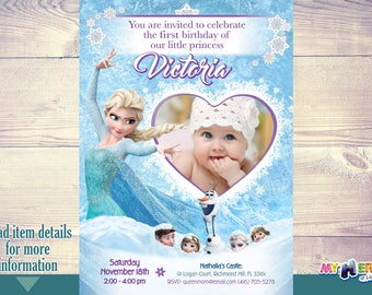 1st Birthday Frozen Party Invitation. Baby Girl Frozen Invite. 1st Frozen Birthday Ideas. First Frozen Party. My princess is turning 1. 272