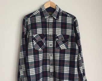 Vintage Mens Plaid Sportswear Flannel M *Sears Perma-Prest*