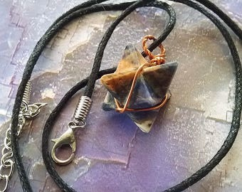 SODALITE Crystal MERKABA PENDANT with Copper Wrap, Sacred Geometry Merkaba Necklace, With Hemp Chain