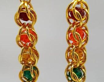 Captured Bead Jeweltone Rainbow Earrings