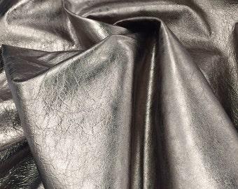 Genuine Lambskin Leather Metallic Wrinkled Pewter VM030118-07 Remnant