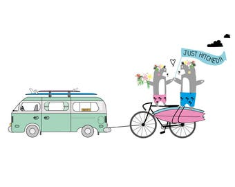 JUST HITCHED! VW Surf Camper Wedding Card by Katie Cheetham