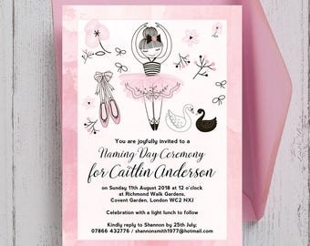 Personalised Baby Pink and White Prima Ballerina Naming Day Invitation with Envelopes