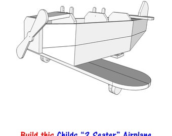 """Child's """"2 Seater"""" Airplane    - woodworking - PDF file - blueprint - wood plans"""