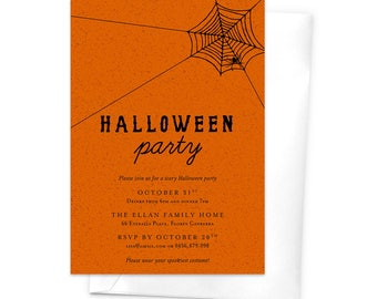 Halloween Party Invitation / Children's Halloween Party Invitation / Printable Halloween Party Invitation / Spider Web Invitation