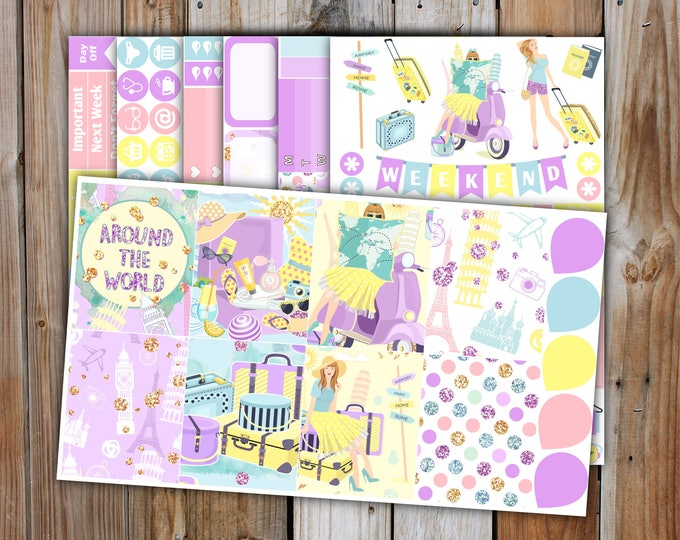 Summer Holiday Planner Sticker DELUXE KIT (7 Pages) | Summer Planner Stickers Kit for use with Erin Condren Life Planner