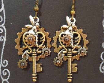 Silver Fairie on Bronze Key; Steampunk Inspired Earrings; SP450