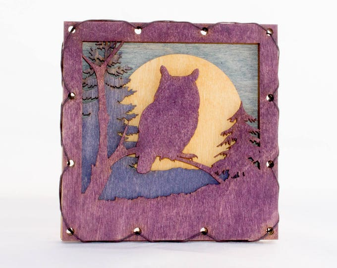 Wood Rustic Styled Great Horned Owl  Wall Art