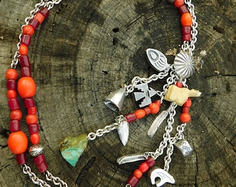 Susan Cummings huge southwest fetish charm necklace, handmade rare, sterling silver, coral, turquoise, rare, sold out necklace.