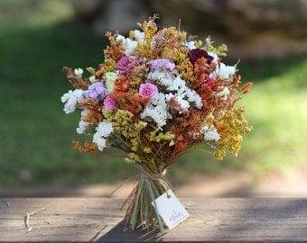 Unique Dried Flowers Bouquet, Handmade Posy Wedding Bouquet.