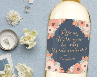 Will you be my Bridesmaid Wine Label, Ask Maid of honor Wine Label, Bridesmaid Proposal Gift, Wedding Wine Label, Asking Bridesmaid Gift