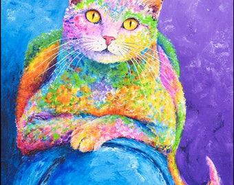 "Cat Painting - Cat Wall Art Decor, Cat Decor, Cats, Kitty Art, Kitten Art, Original Painting ""Miss Karma"" 26 x 22 inches, Acrylic on Canvas."