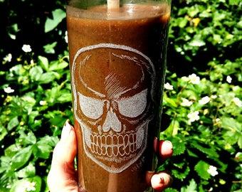 Vampire Skull on Drinking glass, Beer glass, Bottle (upcycling)