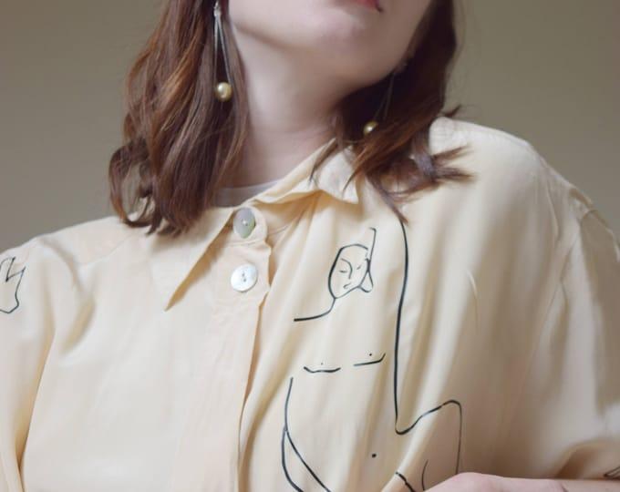 Wilson Oversized Buttercream Silk Short Sleeve Blouse