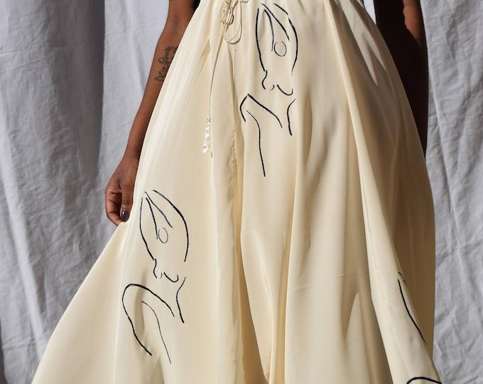 Meridian Woman Cream Drawstring Circle Skirt