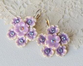 Silver Plated Enamel Rhinestone Earrings, Vintage Lilac Rhinestone Earrings,Purple Enamel Art Deco Lever Back Costume Rhinestone Jewelry