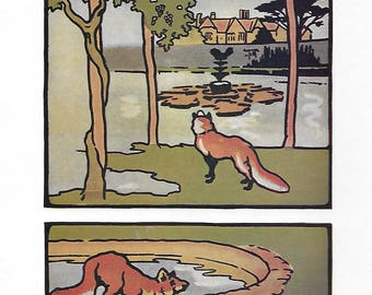 Aesops Fables print Edwin Noble 1920s for framing