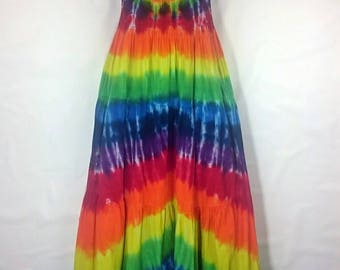 Rainbow Maxi dress, Women's summer dress, Tie dye dress, Women's dress, Long hippy dress, Festival clothing, Gypsy style dress, Dress UK 10