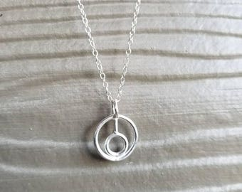 Simple sterling silver circles pendant on chain