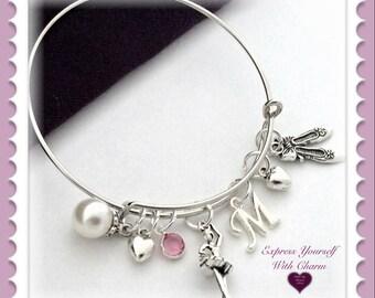 Ballet Bracelet, Ballet Jewelry, Ballet Bangle Bracelet, Charm Bracelet, Personalized Ballet Bracelet, Birthstone Bracelet, Dance Jewelry