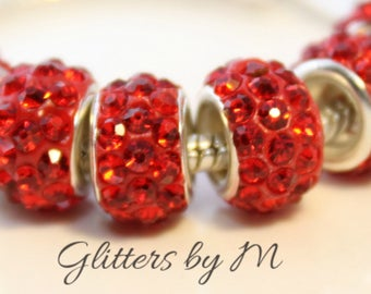 Red Rhinestone Bead for European Style Charm Bracelets Active