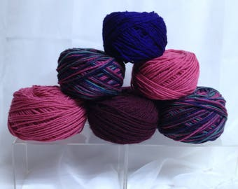 Variegated Yarn Variety Bundle, Textured Worsted Yarn for Fiber Crafts in Coordinated Colors