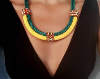 Yellow Amazon necklace - necklaces for women - gift women - gift for her - ethnic necklace - mother's day - mothers day
