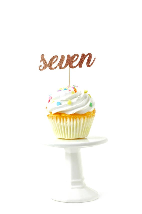 Number Seven Rose Gold Glitter Cupcake Toppers, Number Seven Toothpicks, Rose Gold Party Decor Food Decoration Seventh Birthday 7th Seven