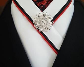 Red, Black and White Equestrian Pzazz Stock Tie