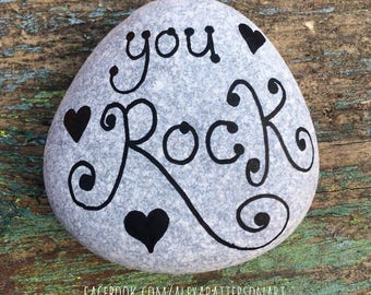 Painted pebble, you rock, you rock pebble, pebbleart, stone art, painted stone, beach lover gift, surfer gift, Valentine's gift, 6cm
