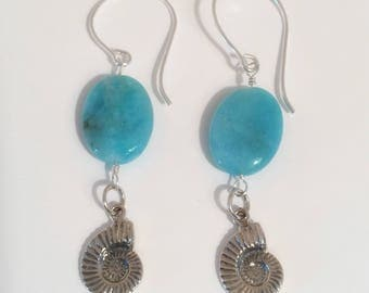 Silver Shell and Amozonite Earrings