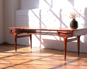 Danish Modern Teak Coffee Table with Bi-directional Drawers