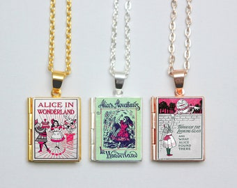 Alice in Wonderland Book Locket Charm Necklace Literary Wedding Vintage Book Gift Jewelry Jewellery by The Locket Library
