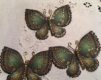 Golden Treasure Emerald Gold Glass Bodied Butterflies DarlingArtByValeri Set for Scrapbooking Embellishment Mini Albums Cards Wedding Gifts