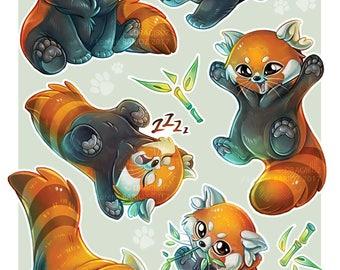 Red panda Stickers Sheet